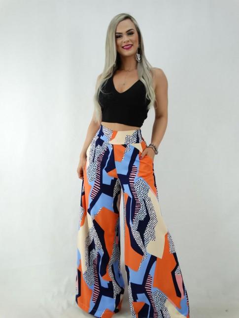 Calça Pantalona em Viscose com Pala e Elástico Colors Geométrico Poá [2001062]