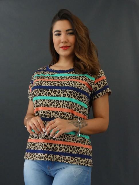 T-shirt Estampada em Viscolycra Onça Bege Listras Verde Salmão e Azul [2012037]