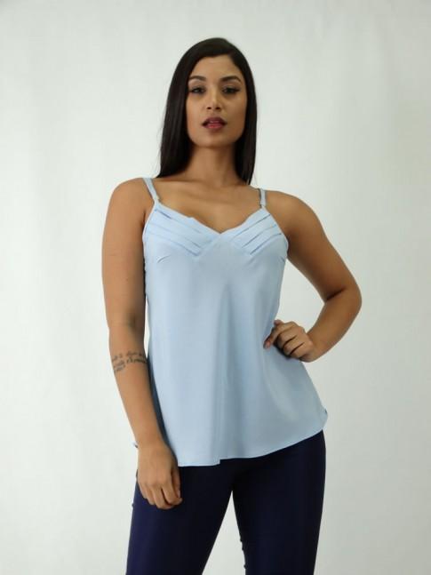 Blusa em Viscose de alca Decote V com Detalhes Azul Claro [1809214]