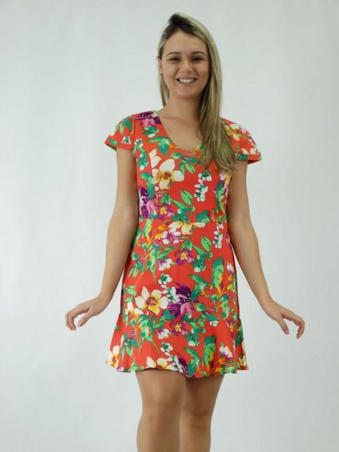 Vestido Tricoline com badado Salmao Est. Flores