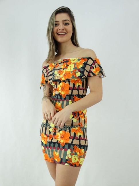 Vestido em Suplex Ombro a Ombro com Babado Preto Bege Flores Coral [2006030]