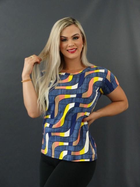 T-shirt Estampada em Viscolycra Azul Escuro Listras Colors [2101002]