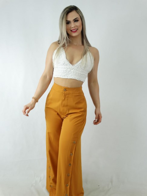 Calça Pantalona em Viscose com Botões Mostarda [1910003]