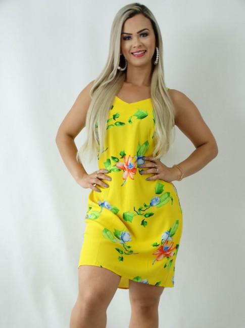 Vestido em Viscose Decote V Alca Larga Amarelo Flores [1903037]