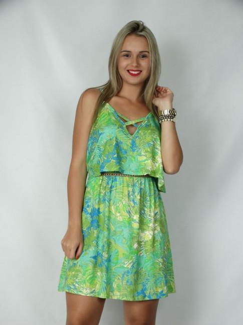 Vestido de alça com blusa sobreposta estampa tropical verde