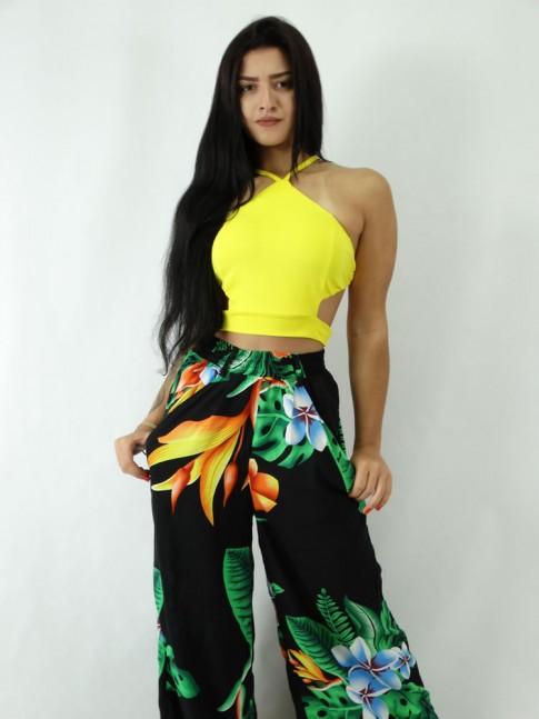 Calça Pantalona em Viscose com elastico no cos Preto Floral