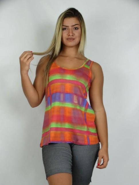 314 - Bata Camiseta em Viscolycra Estampa Arco Iris 591