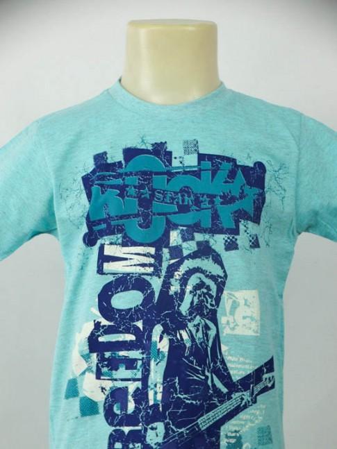 T-shirt infantil gola careca azul com estampa freedom