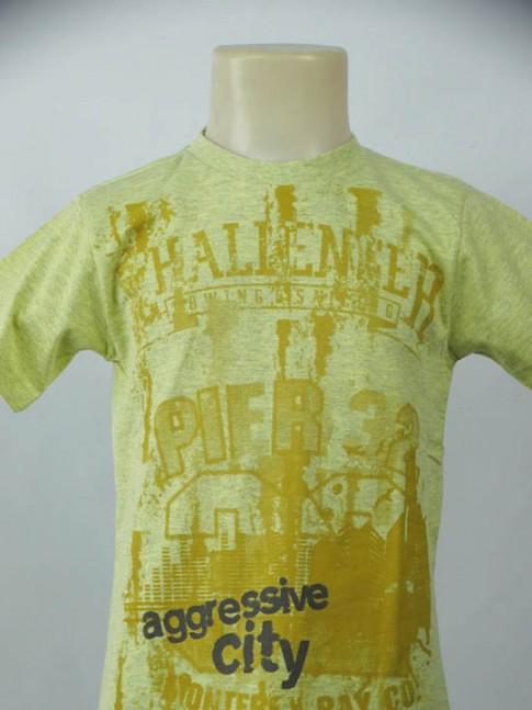 T-shirt infantil gola careca amarela com estampa city