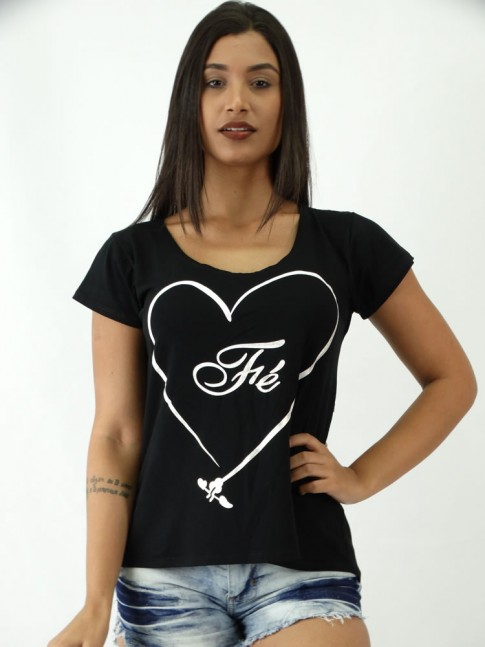 T-shirt em Viscolycra estilo Mullet Estampa Coracao da Fe