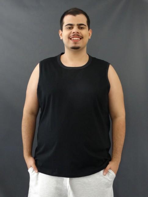 Camiseta Masculina Regata Machão Basic Plus Size Preto [2010130]