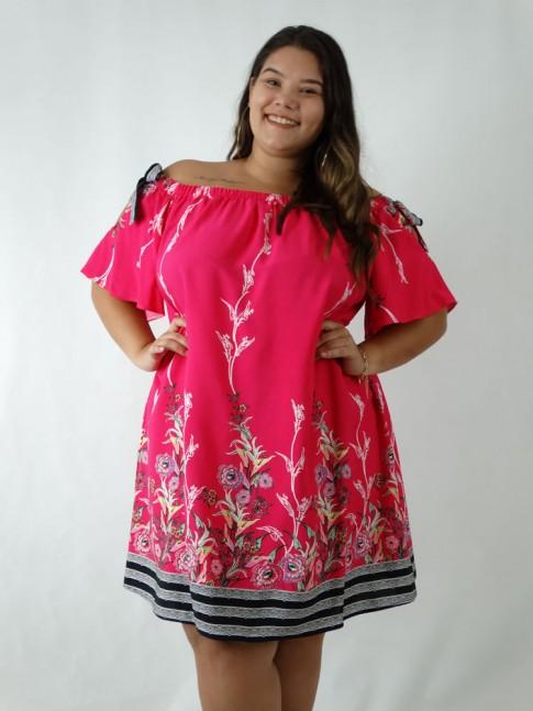 Vestido em Viscose Ciganinha Plus Size Rosa Flores Etnico [1903065]