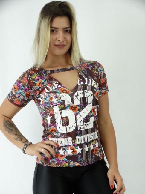 T-shirt Viscolycra Recorte V Color Numeros