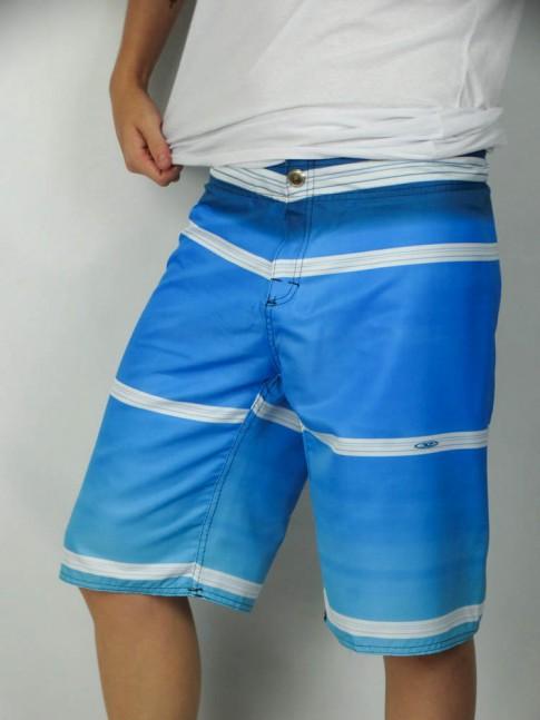 312-Bermuda masculina em microfibra botão sublimada azul listrado branco