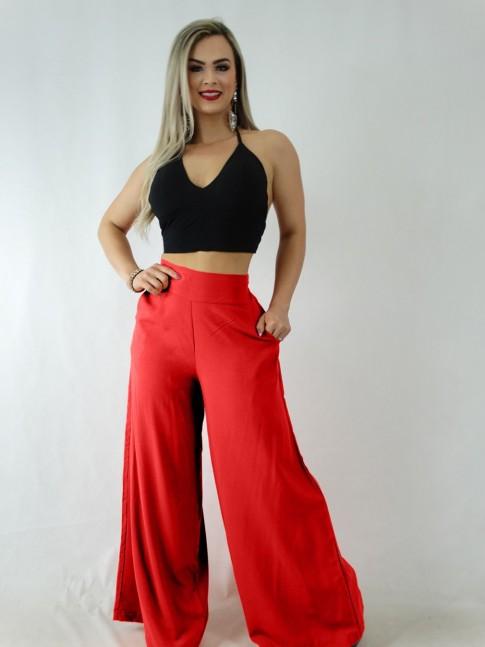 Calça Pantalona em Viscose com Pala e Elástico Vermelho [1911344]