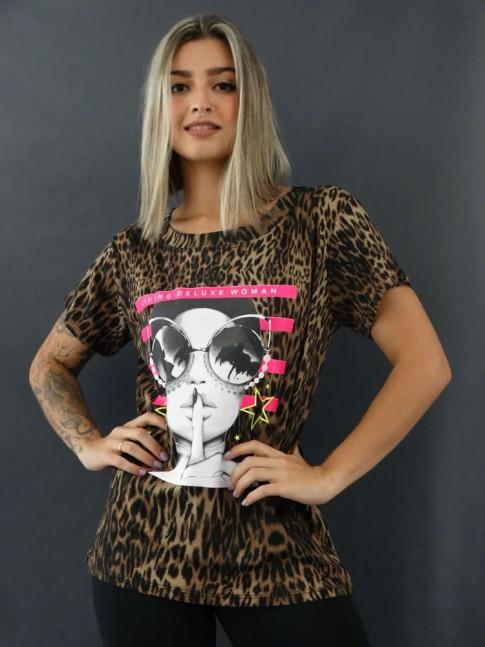 T-shirt Estampada em Viscolycra Onça Marrom Living Deluxe [2012044]