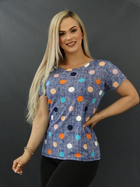 T-shirt Estampada em Viscolycra Azul Riscos Poá Colors [2011065]