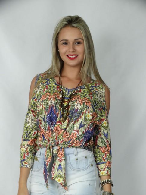 308 - Blusa amarração frente com recorte ombro e punho estampa étnica com flores