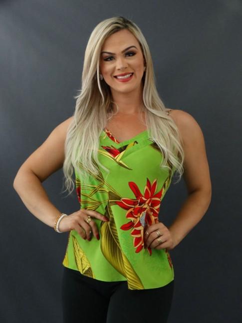 Blusa de Alça Decote V com Detalhes em Viscose Verde Folhas e flores Vermelho [2101037]