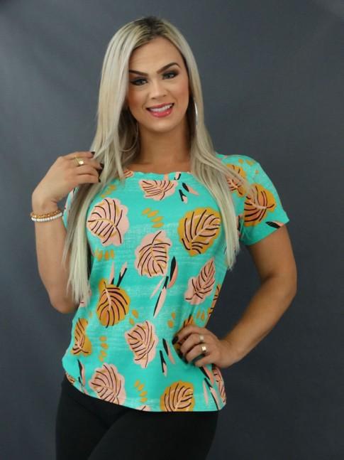 Blusa T-shirt Estampada em Viscolycra Verde Agua Folhas Salmão [2103123]