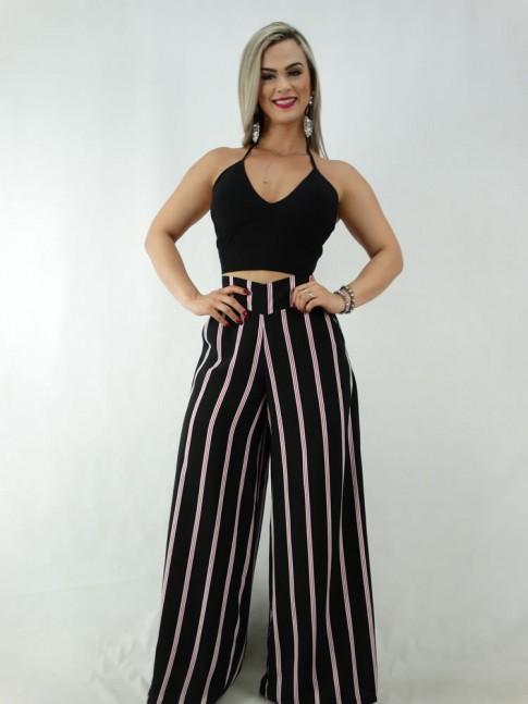 Calça Pantalona em Viscose com Pala e Elástico Preto Listras Vermelhas [2001065]