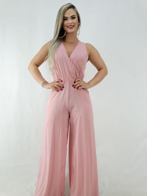 Macacão Pantalona em Viscose Alça Larga Decote Transpassado Rosa [2001001]