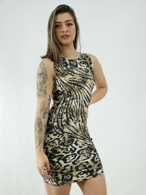 Vestido em Suplex Decote Profundo nas Costas Animal Print [2006039]