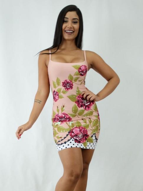 Vestido em Suplex de Alça Rose Flores Poa [1812051]