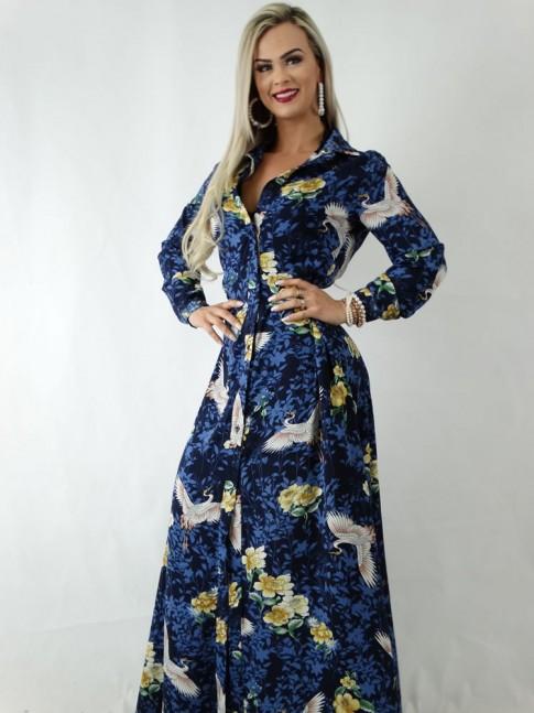 Vestido em Viscose Longo com Botões Azul Flores e Pássaros [1904053]