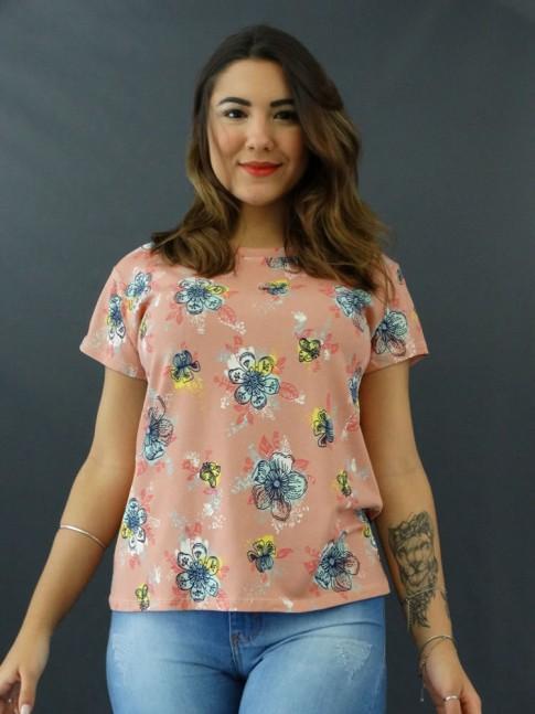 T-shirt Estampada em Viscolycra Rose Flores Relevo [2012008]