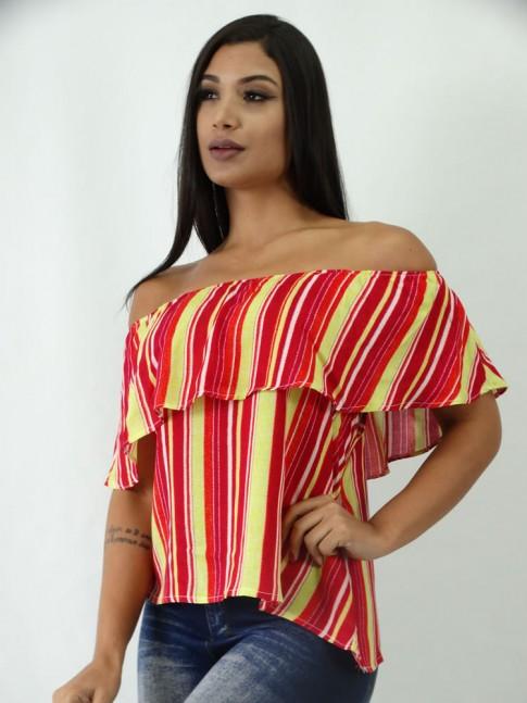 Blusa Ciganinha em Viscose Listras Vermelhas e Amarelas [1903027]