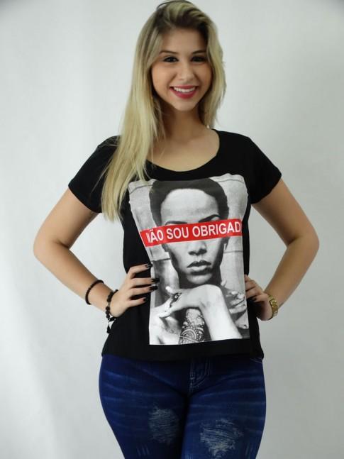 T-shirt em Viscolycra Estilo Mullet Nao Sou Obrigada[1809112]