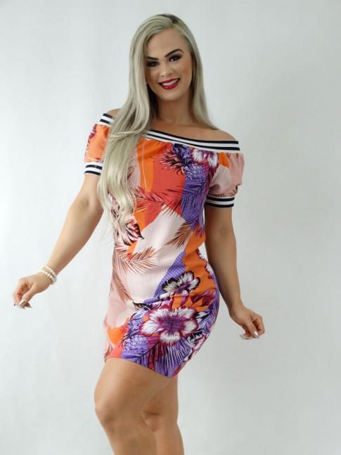 Vestido em Viscose Ciganinha com Elástico Colors Listras Folhas Poá [1911157]
