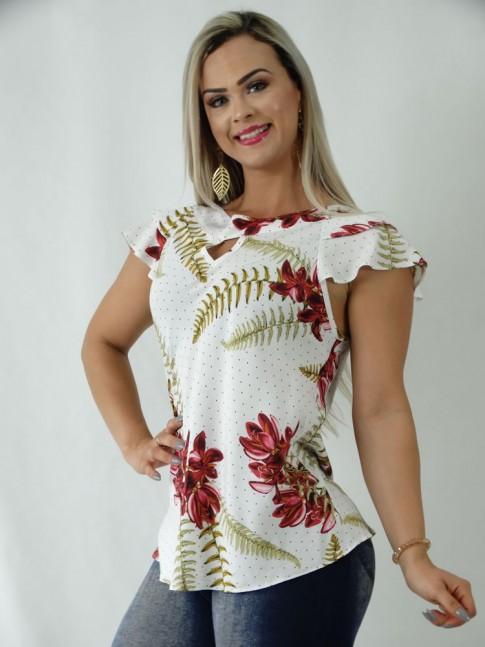 Blusa em Viscose Detalhe Gota Babado Sobreposto Branco Poa Flores [1903116]