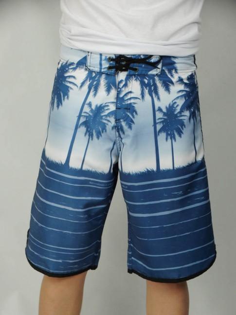 312-Bermuda masculina em microfibra sublimada com viés lateral estampa coqueiro azul