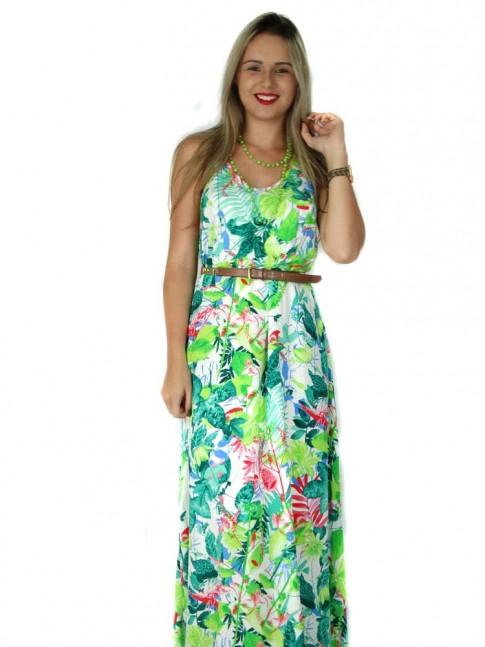 Vestido de viscose longo com duas alças cruzadas estampa floral tropical
