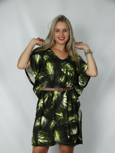 Vestido decote V com tiras no decote estampa folhas