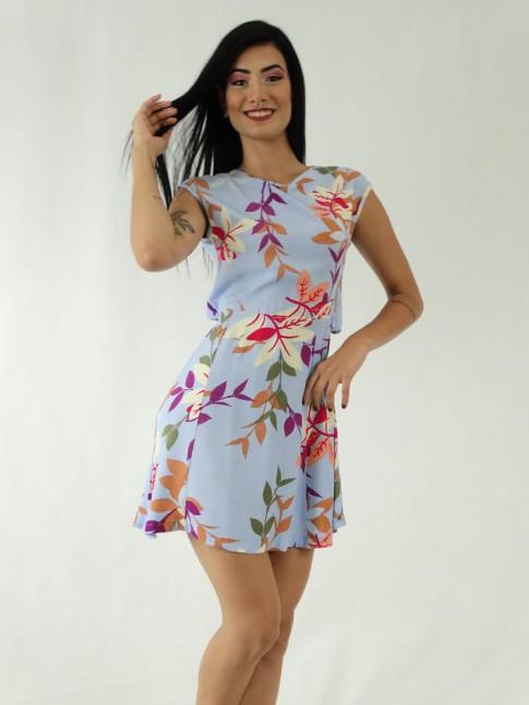 Vestido em Viscose Transpassado nas Costas Azul Folhas Colors [1911049]