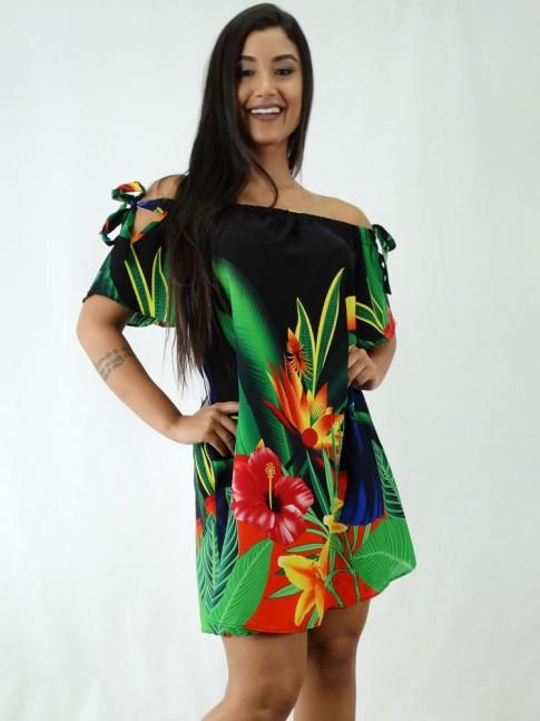 Vestido em Viscose Ciganinha Preto Tucano [1812072]