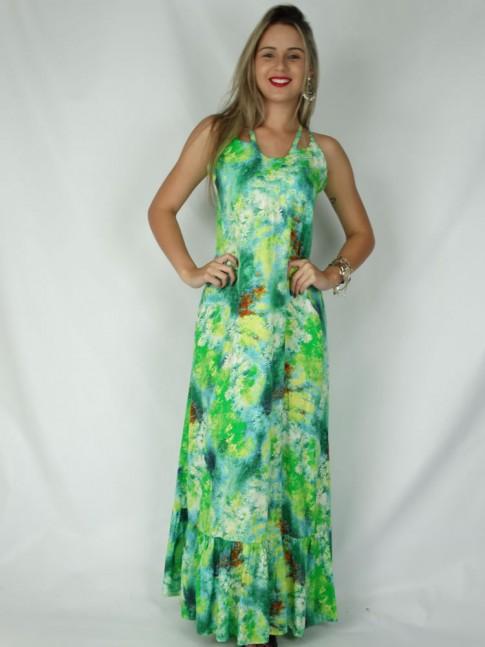 Vestido de viscose longo com alça cruzada estampa croco floral verde