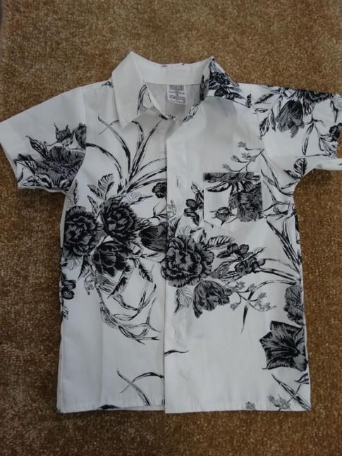 Camisa Infantil Com Botões em Tecido Branco Flores [1901265]