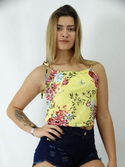 Blusa Cropped em Viscolycra Alca com Amarracao Amarelo Flores