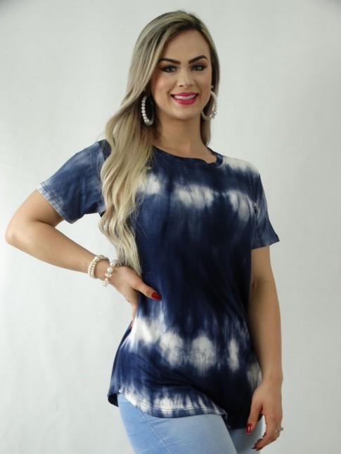 T-Shirt em Viscolycra Sobre Legging Tie Dye Azul Marinho [1909062]