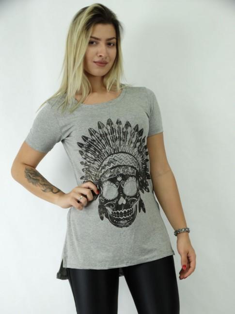 T-shirt Mullet com Fenda Viscolycra Caveira Indigena