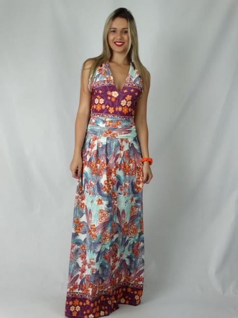 308 -  Vestido em Visco Lycra com Faixa Alça Cruzada Estampa Flores