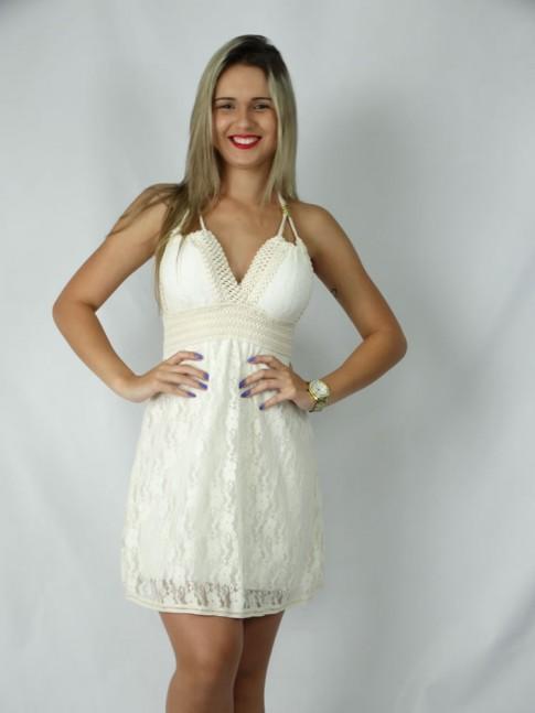 100 - Vestido em Renda com Bojo e Elástico Forro interno Liso