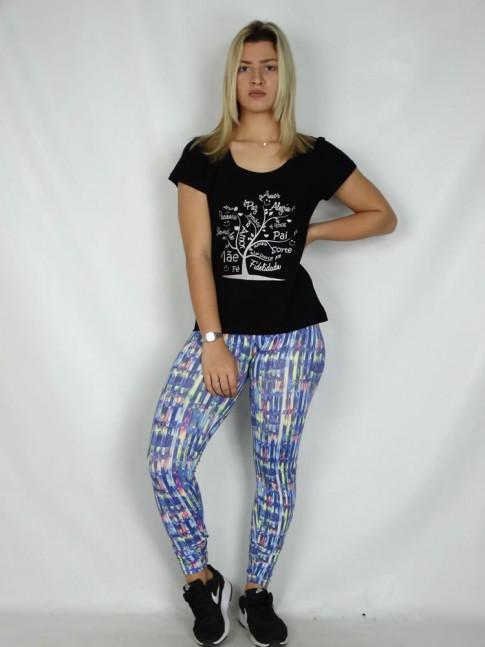 Calça Legging em Suplex Azul Print