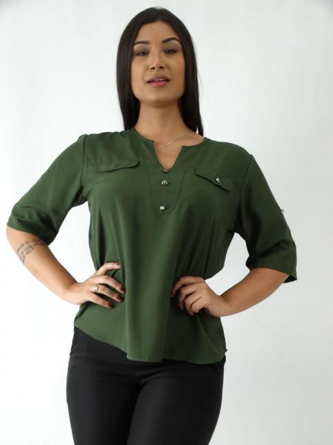 Blusa em Viscose Decote V com Botões Verde [1907218]