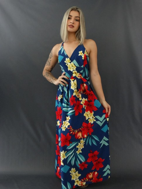 Vestido Decote Transpassado Frente Única em Crepe com Elastano Azul Flores [2011196]
