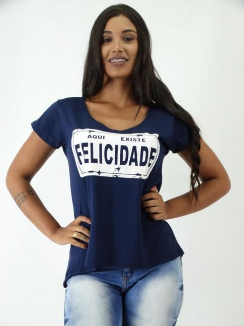T-shirt Mullet em Viscolycra Placa Felicidade